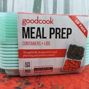 Goodcook Meal Prep 10 Pack Containers & Lids 1/2 C